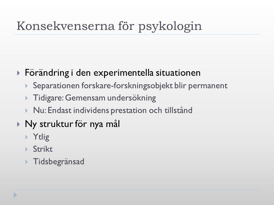 Konsekvenserna för psykologin