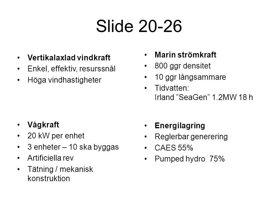 Slide 20-26 Marin strömkraft Vertikalaxlad vindkraft 800 ggr densitet