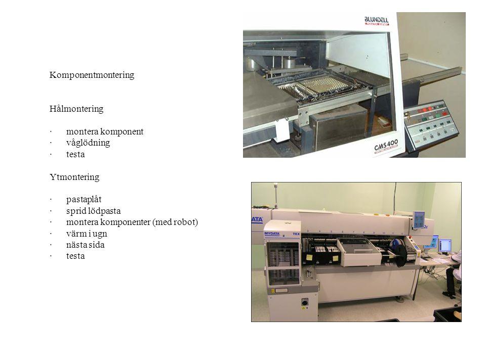 Komponentmontering Hålmontering · montera komponent · våglödning · testa Ytmontering · pastaplåt · sprid lödpasta · montera komponenter (med robot) · värm i ugn · nästa sida · testa