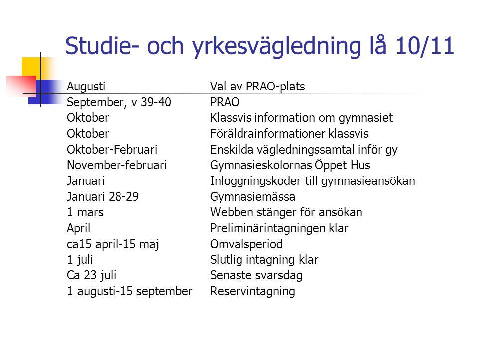 Studie- och yrkesvägledning lå 10/11