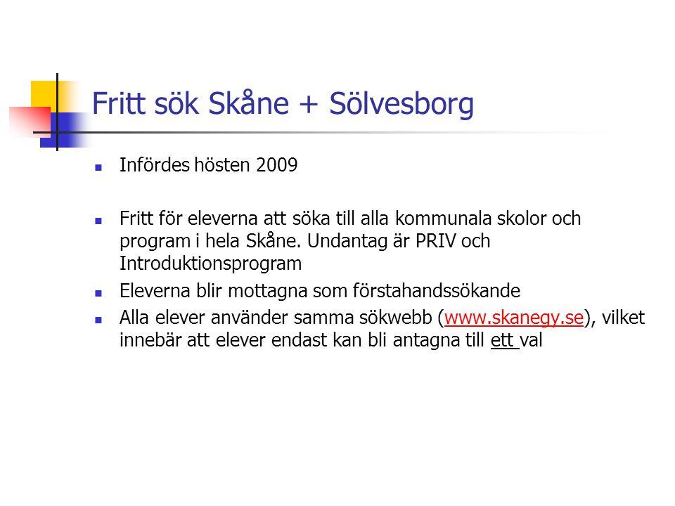 Fritt sök Skåne + Sölvesborg