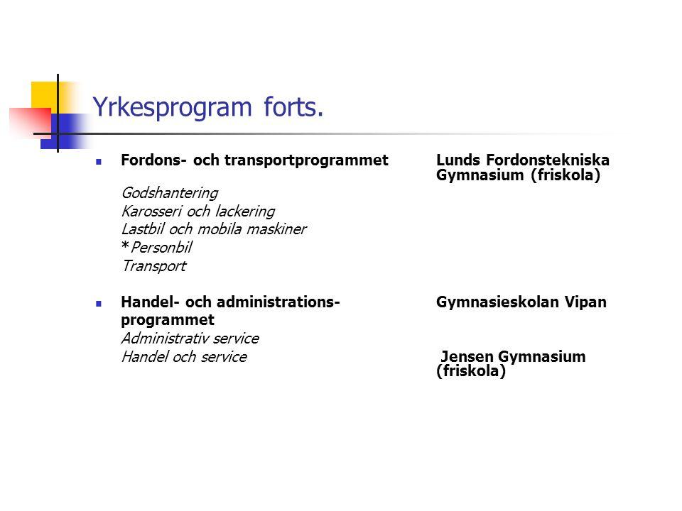 Yrkesprogram forts. Fordons- och transportprogrammet Lunds Fordonstekniska Gymnasium (friskola)