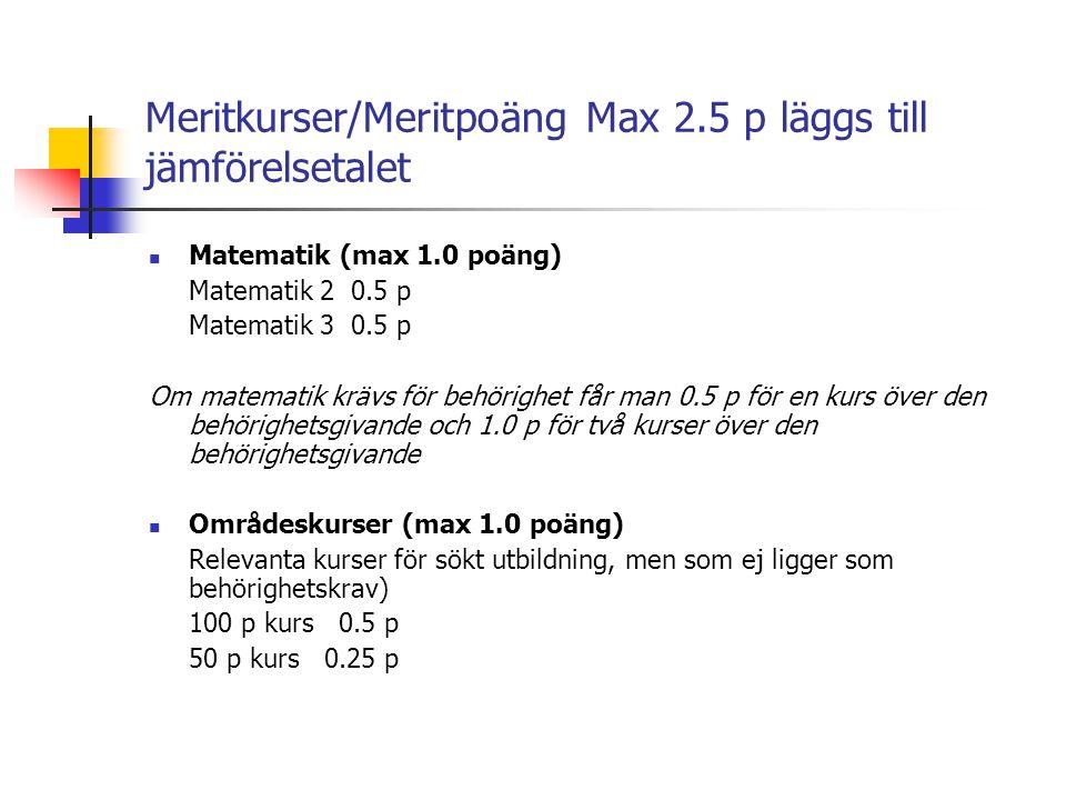 Meritkurser/Meritpoäng Max 2.5 p läggs till jämförelsetalet