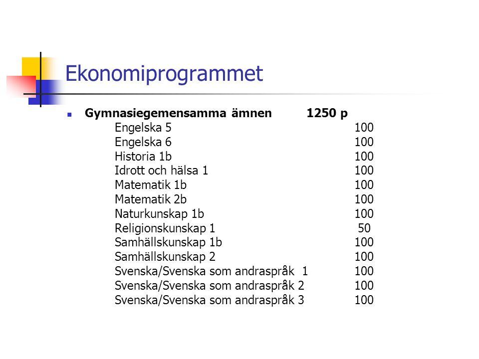 Ekonomiprogrammet Gymnasiegemensamma ämnen 1250 p Engelska 5 100