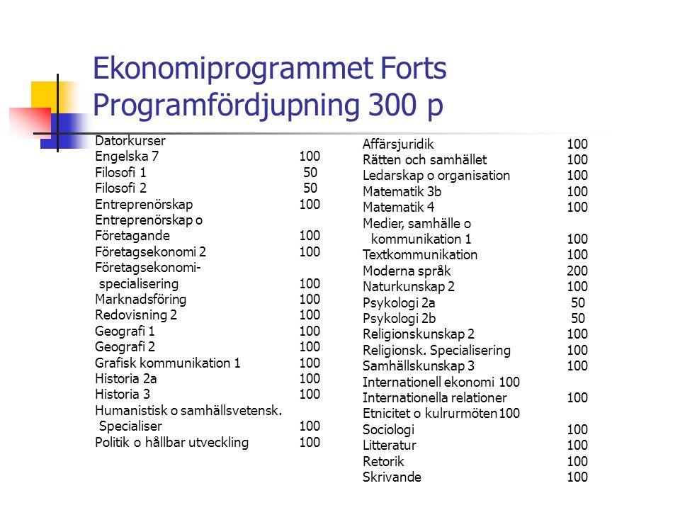 Ekonomiprogrammet Forts Programfördjupning 300 p