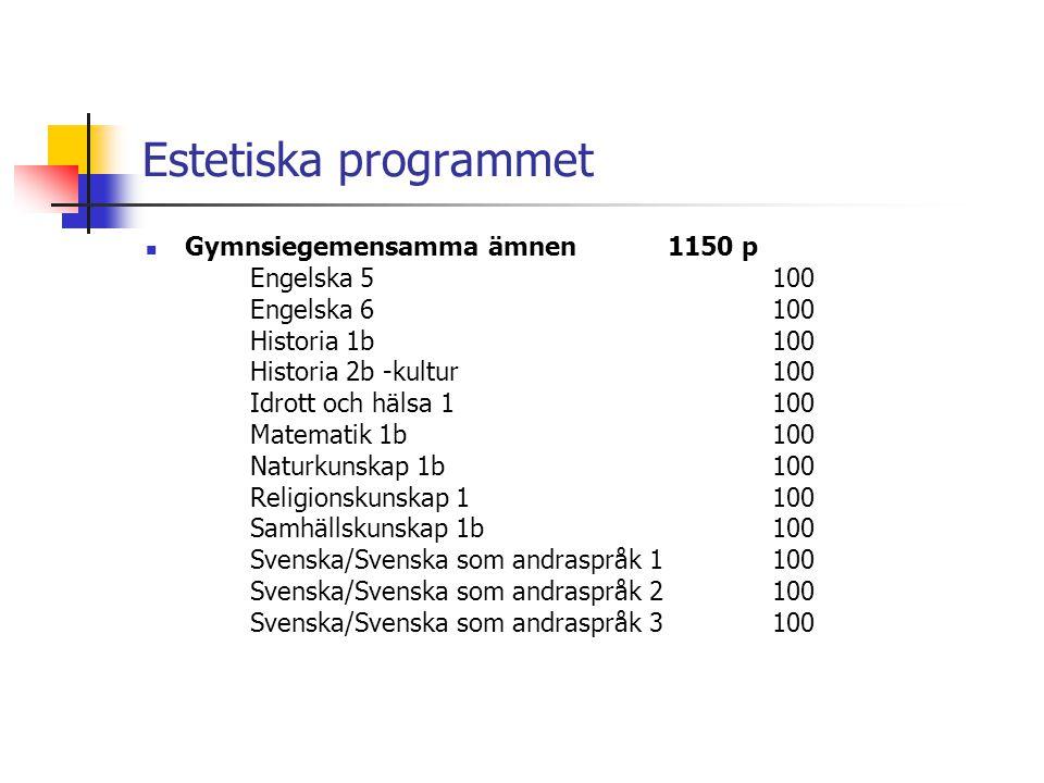 Estetiska programmet Gymnsiegemensamma ämnen 1150 p Engelska 5 100