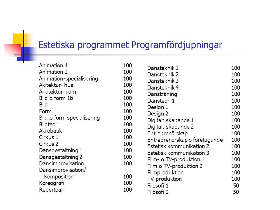 Estetiska programmet Programfördjupningar