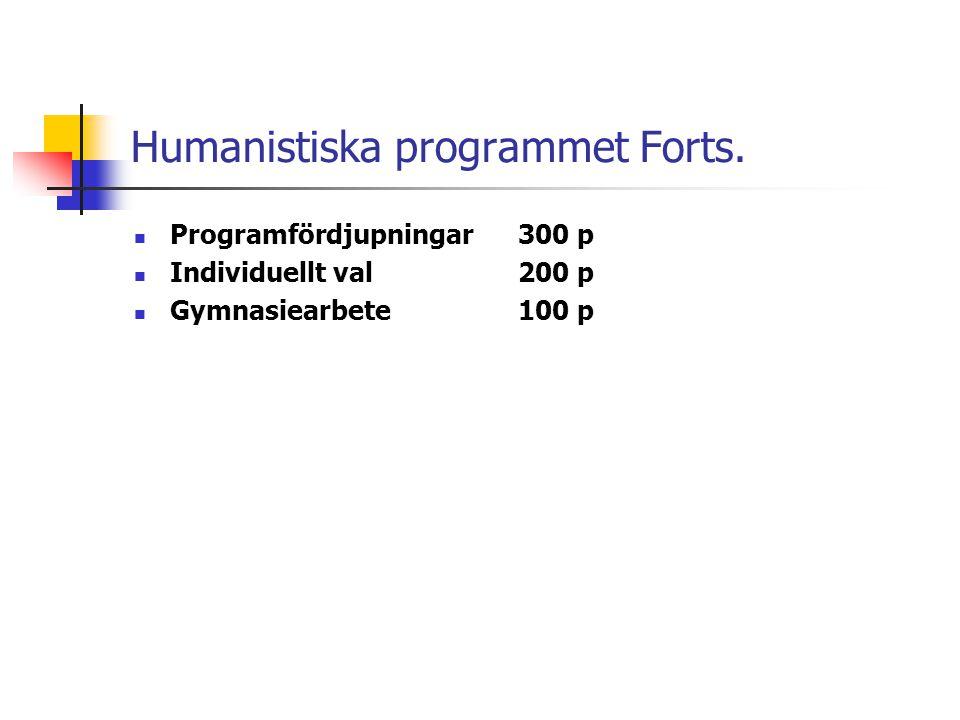 Humanistiska programmet Forts.