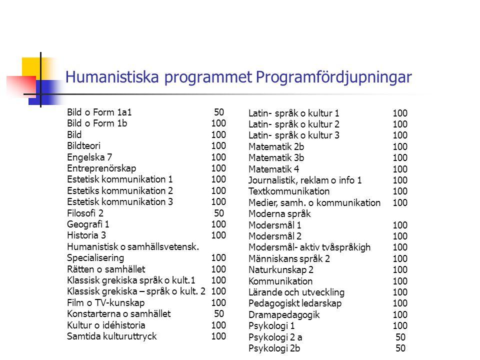 Humanistiska programmet Programfördjupningar