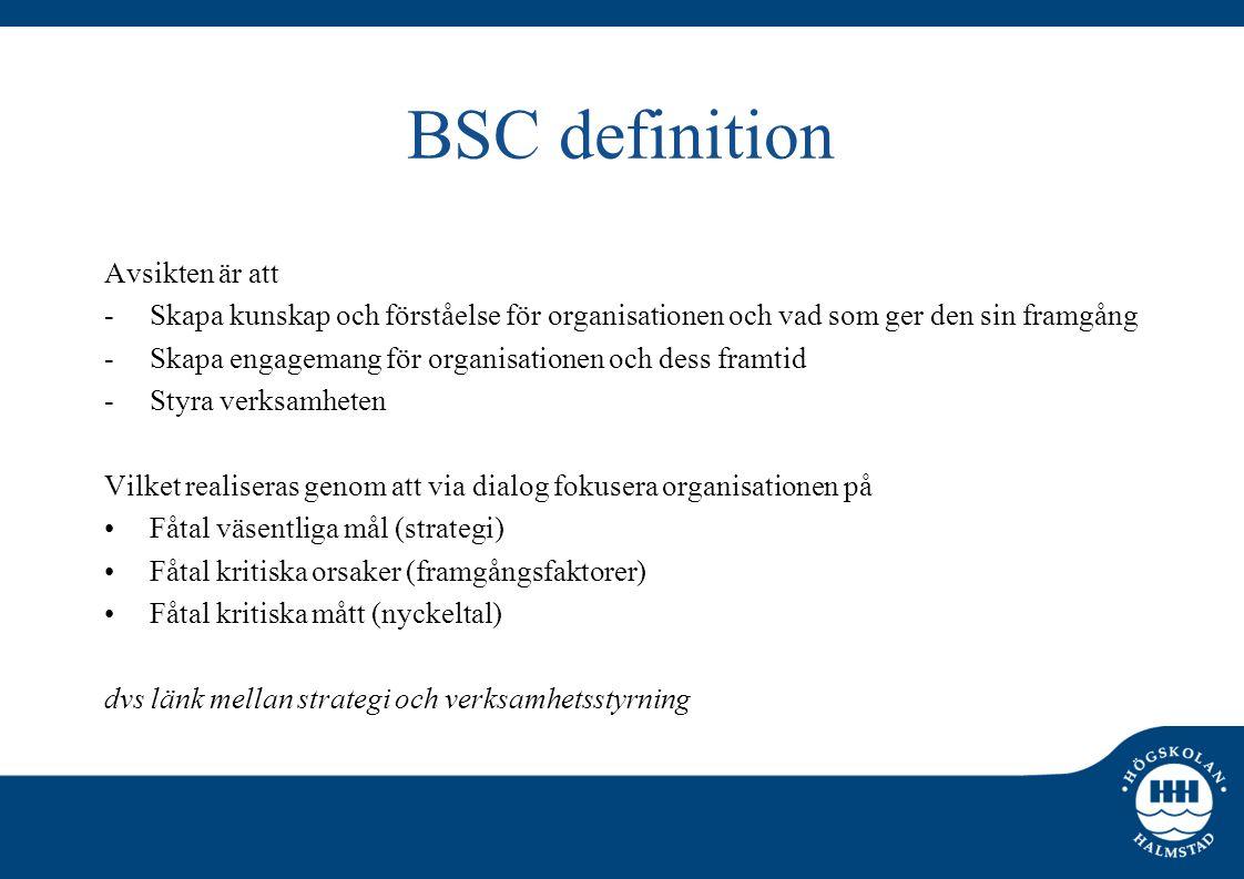 BSC definition Avsikten är att