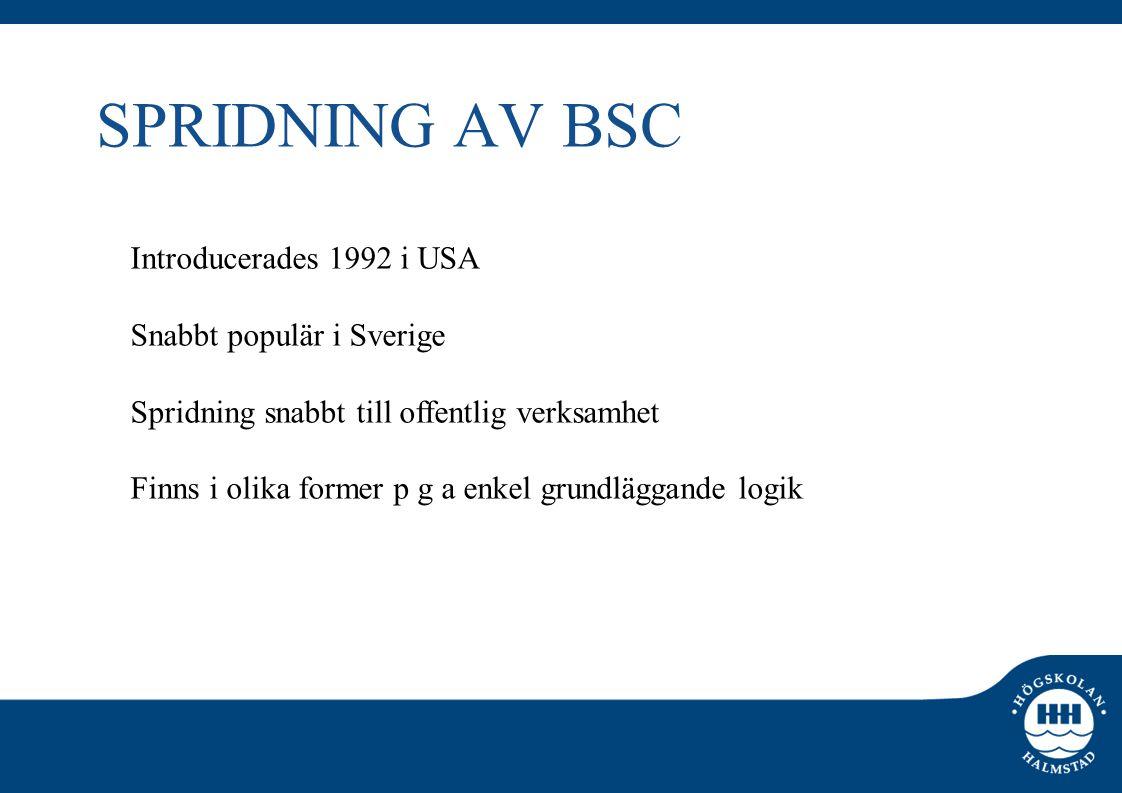 SPRIDNING AV BSC Introducerades 1992 i USA Snabbt populär i Sverige