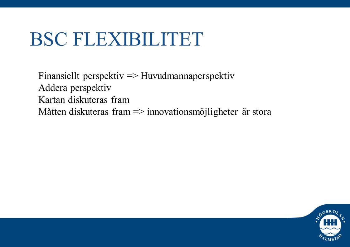 BSC FLEXIBILITET Finansiellt perspektiv => Huvudmannaperspektiv