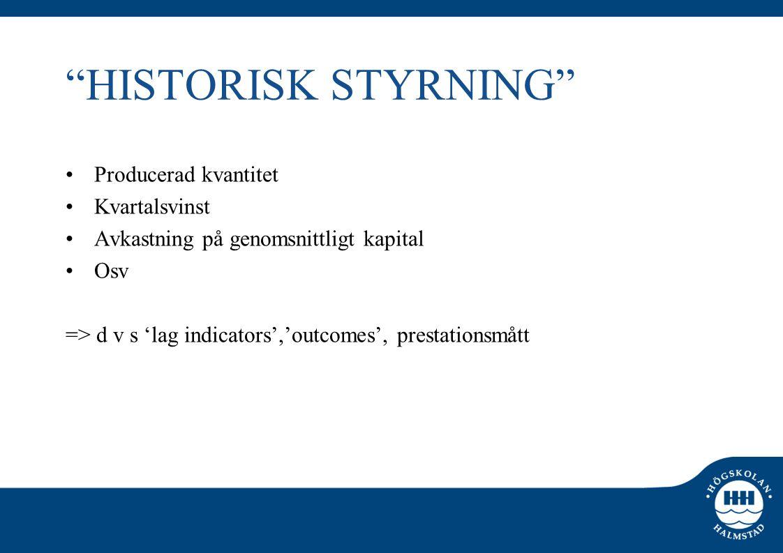 HISTORISK STYRNING Producerad kvantitet Kvartalsvinst
