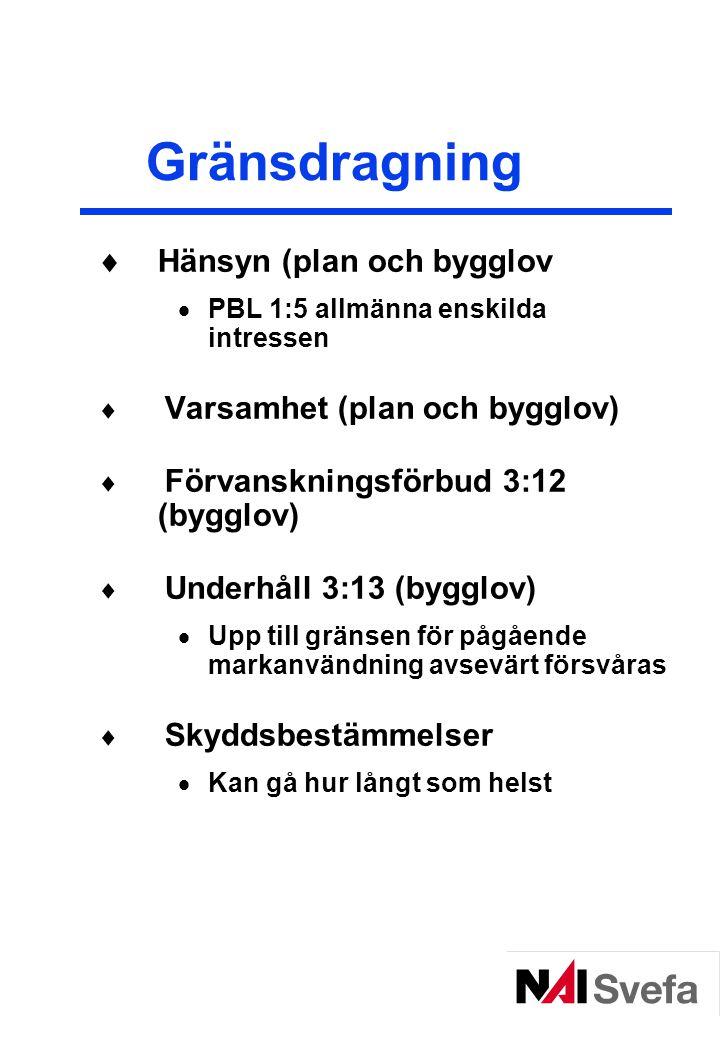 Gränsdragning Hänsyn (plan och bygglov