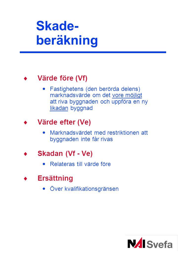 Skade- beräkning Värde före (Vf) Värde efter (Ve) Skadan (Vf - Ve)