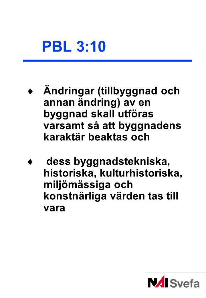 PBL 3:10 Ändringar (tillbyggnad och annan ändring) av en byggnad skall utföras varsamt så att byggnadens karaktär beaktas och.