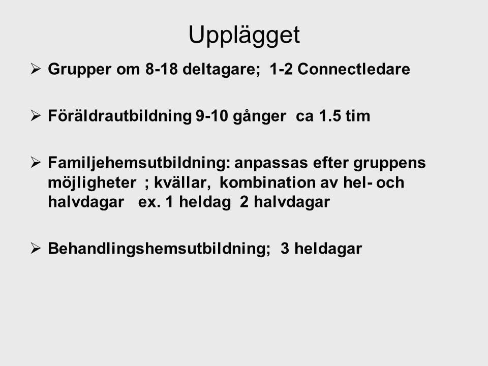 Upplägget Grupper om 8-18 deltagare; 1-2 Connectledare