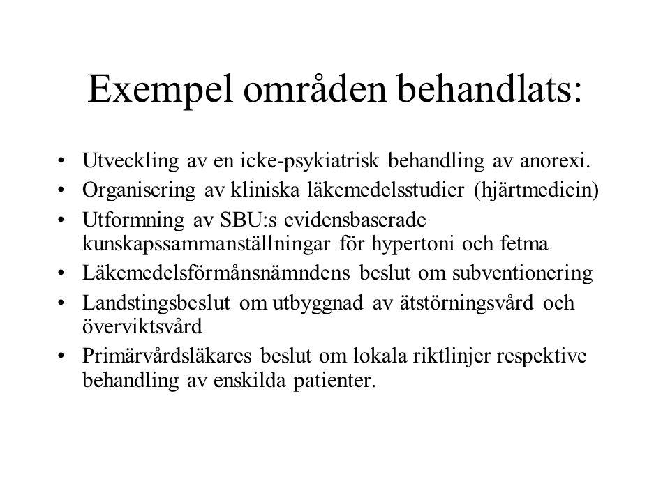 Exempel områden behandlats: