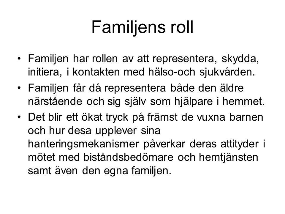 Familjens roll Familjen har rollen av att representera, skydda, initiera, i kontakten med hälso-och sjukvården.