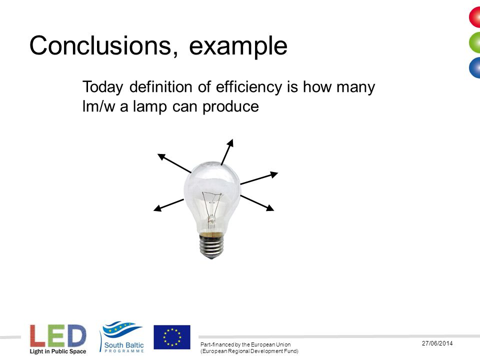03/04/2017 Conclusions, example. Today definition of efficiency is how many lm/w a lamp can produce.