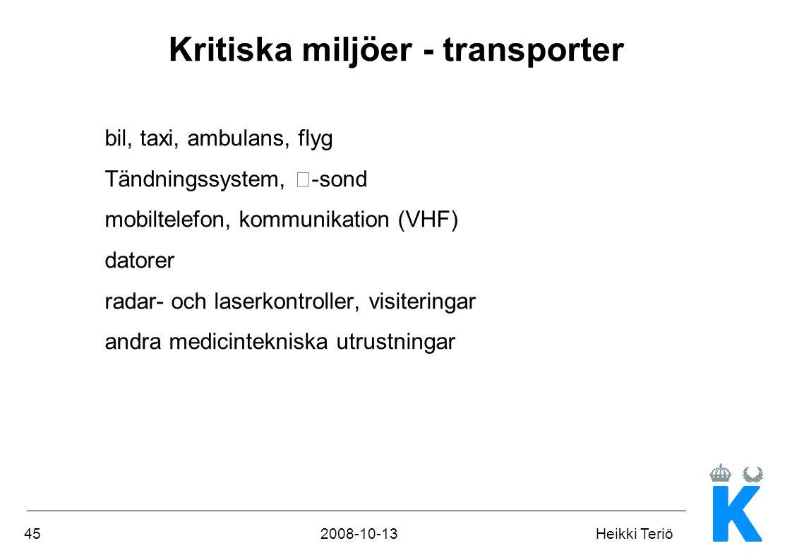 Kritiska miljöer - transporter