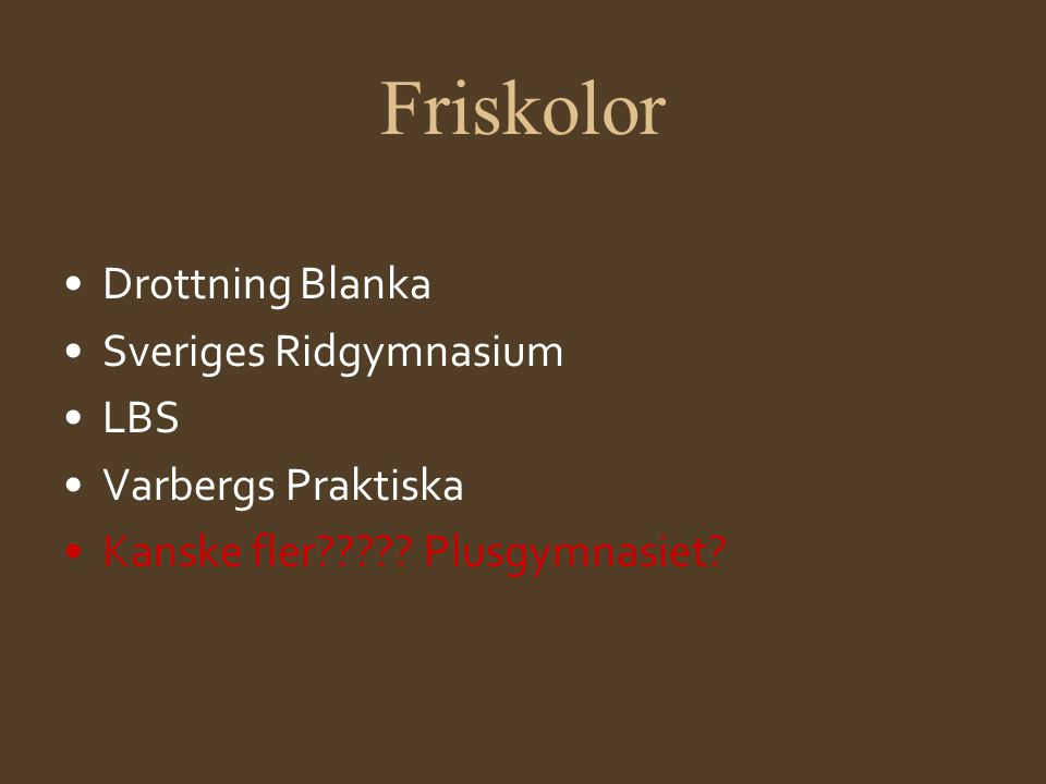 Friskolor Drottning Blanka Sveriges Ridgymnasium LBS