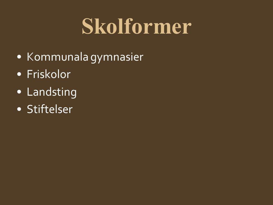 Skolformer Kommunala gymnasier Friskolor Landsting Stiftelser
