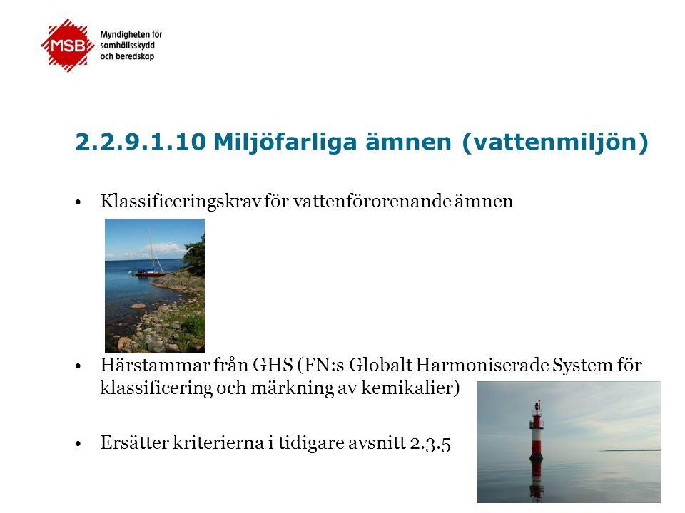 2.2.9.1.10 Miljöfarliga ämnen (vattenmiljön)