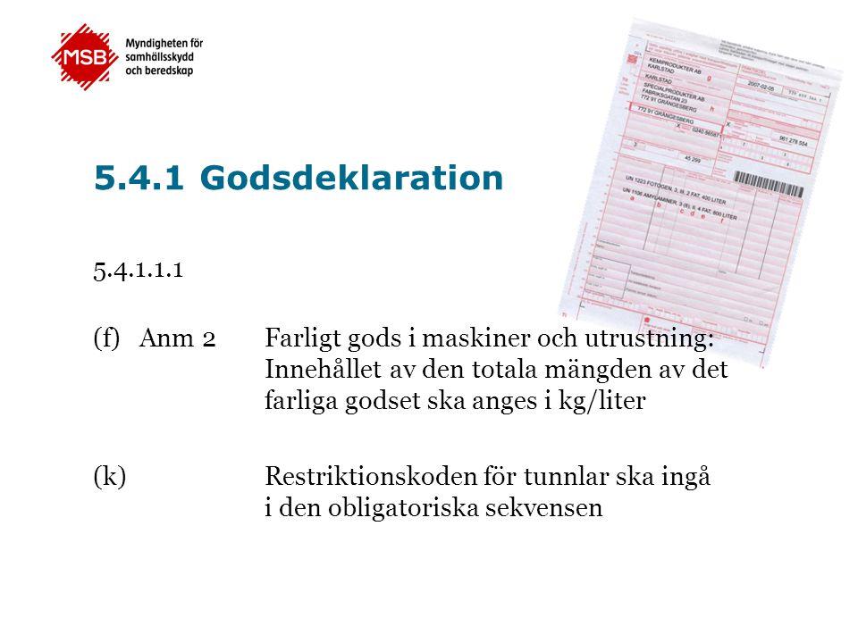 5.4.1 Godsdeklaration 5.4.1.1.1.