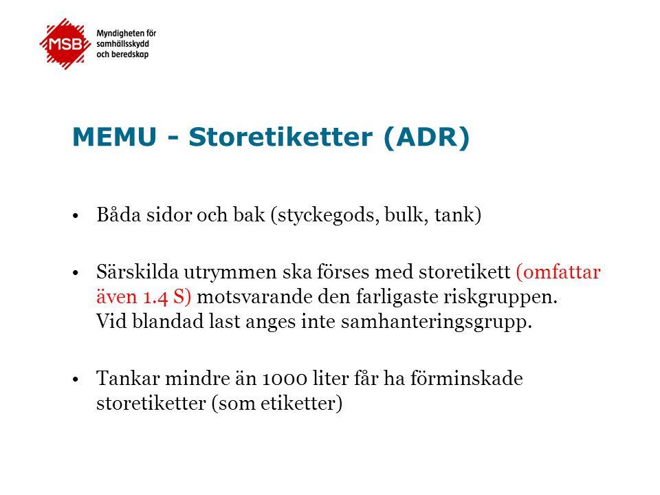 MEMU - Storetiketter (ADR)