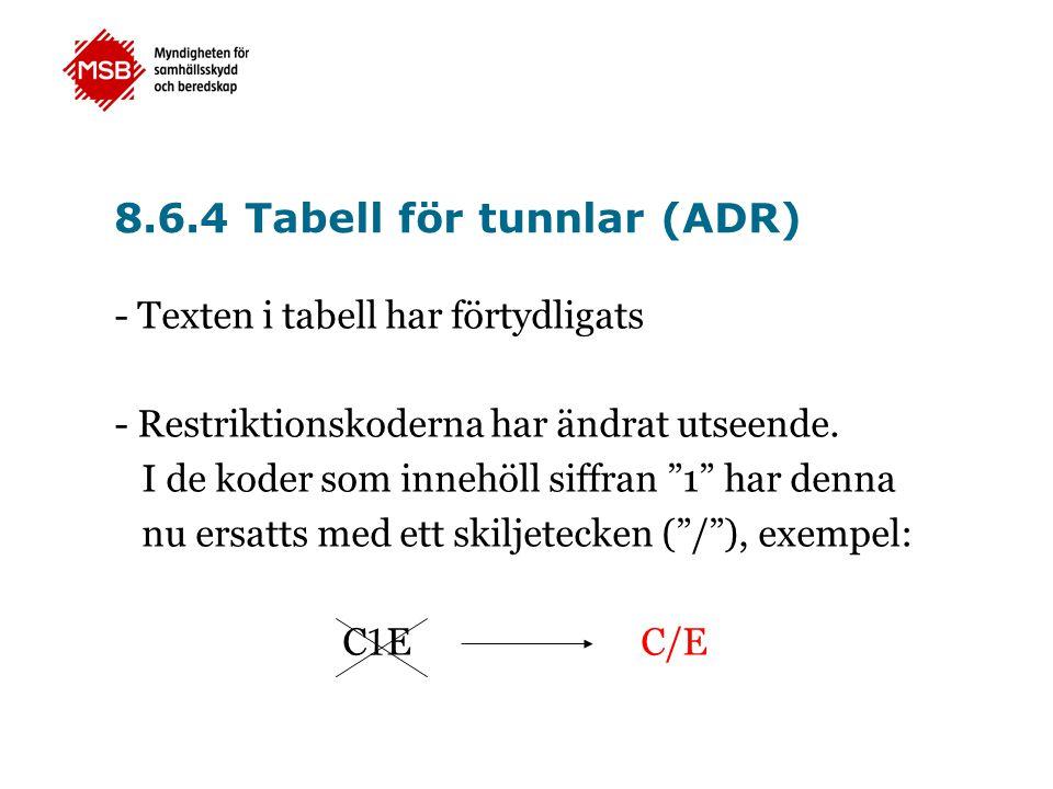 8.6.4 Tabell för tunnlar (ADR)