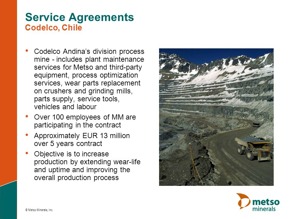 Service Agreements Codelco, Chile