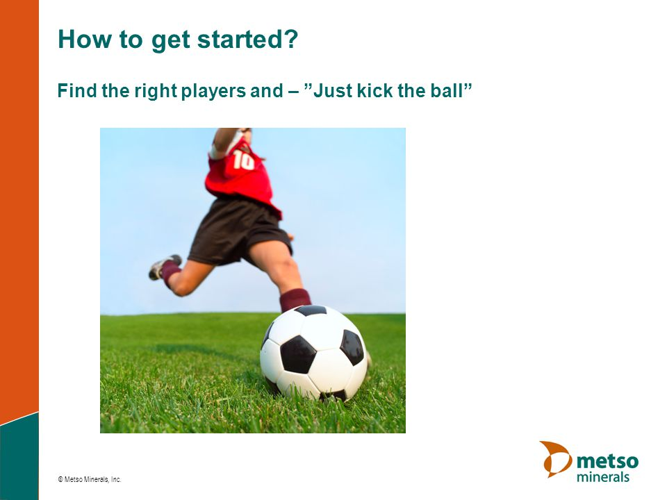 How to get started Find the right players and – Just kick the ball
