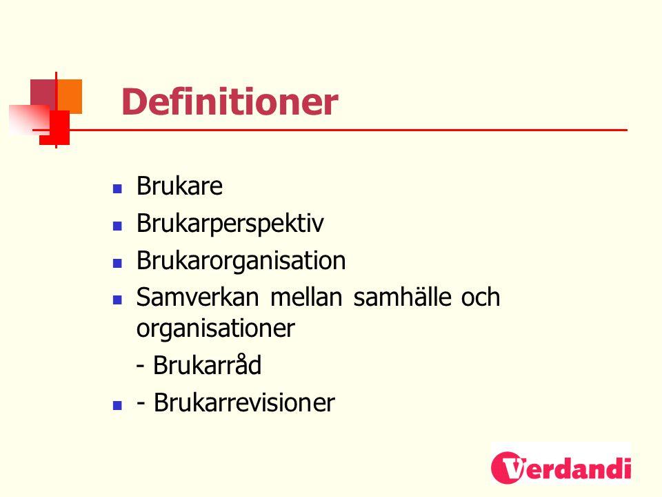 Definitioner Brukare Brukarperspektiv Brukarorganisation