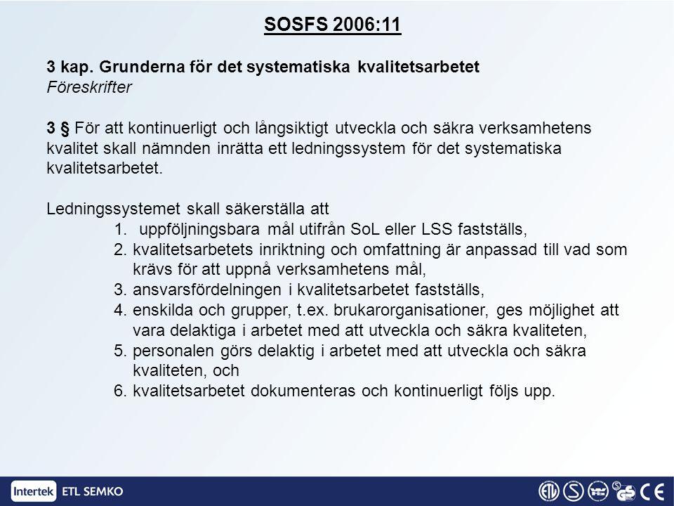 SOSFS 2006:11 3 kap. Grunderna för det systematiska kvalitetsarbetet