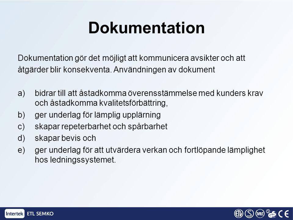 Dokumentation Dokumentation gör det möjligt att kommunicera avsikter och att. åtgärder blir konsekventa. Användningen av dokument.
