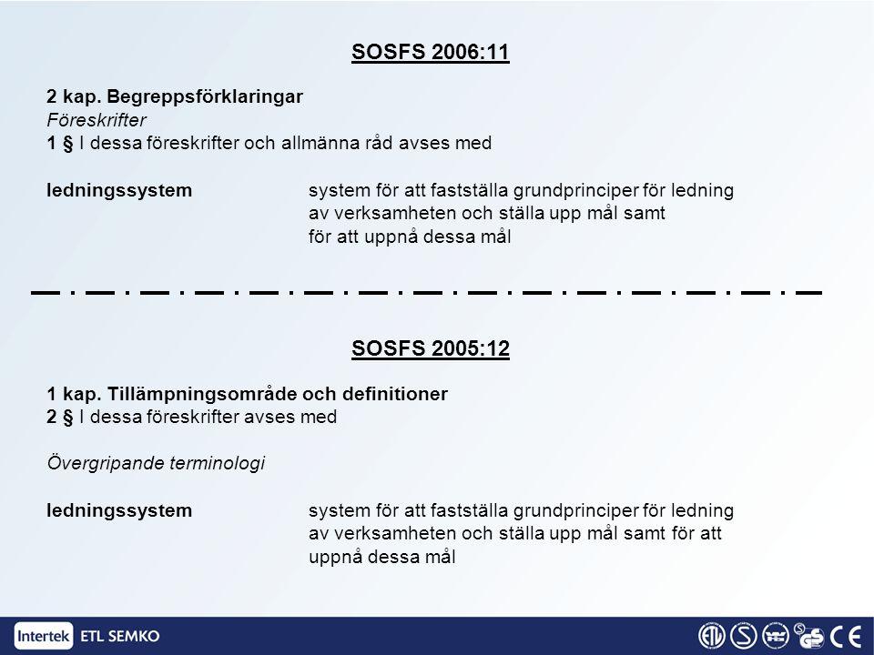 SOSFS 2006:11 SOSFS 2005:12 2 kap. Begreppsförklaringar Föreskrifter