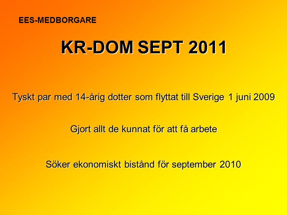 Tyskt par med 14-årig dotter som flyttat till Sverige 1 juni 2009