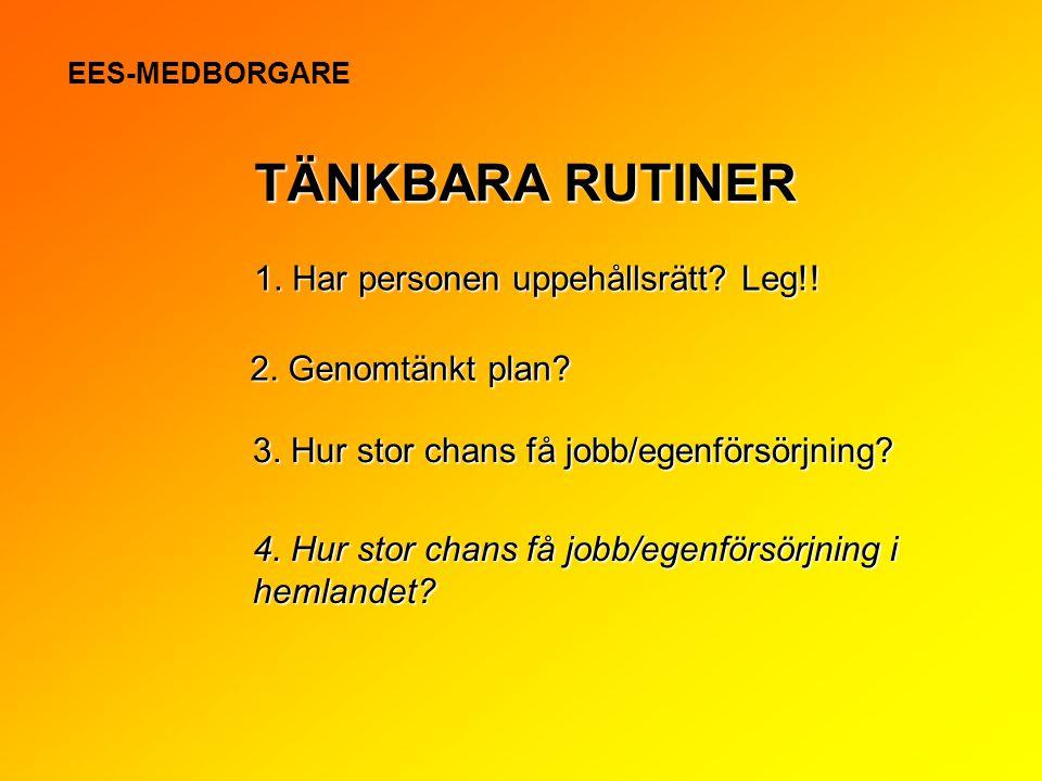 TÄNKBARA RUTINER 1. Har personen uppehållsrätt Leg!!