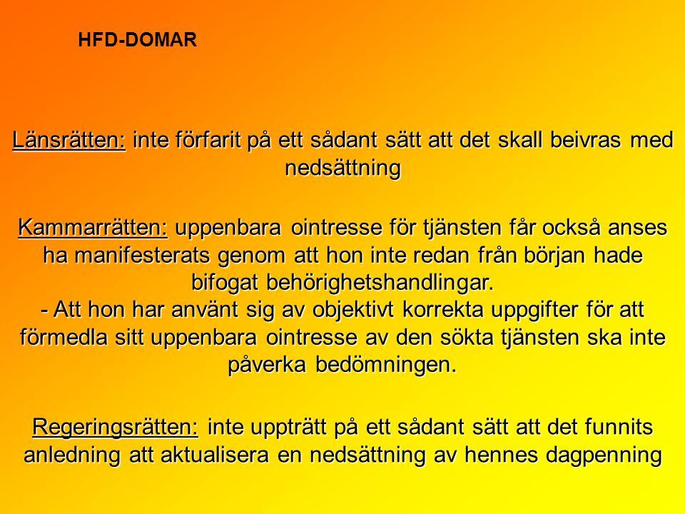 HFD-DOMAR Länsrätten: inte förfarit på ett sådant sätt att det skall beivras med nedsättning.