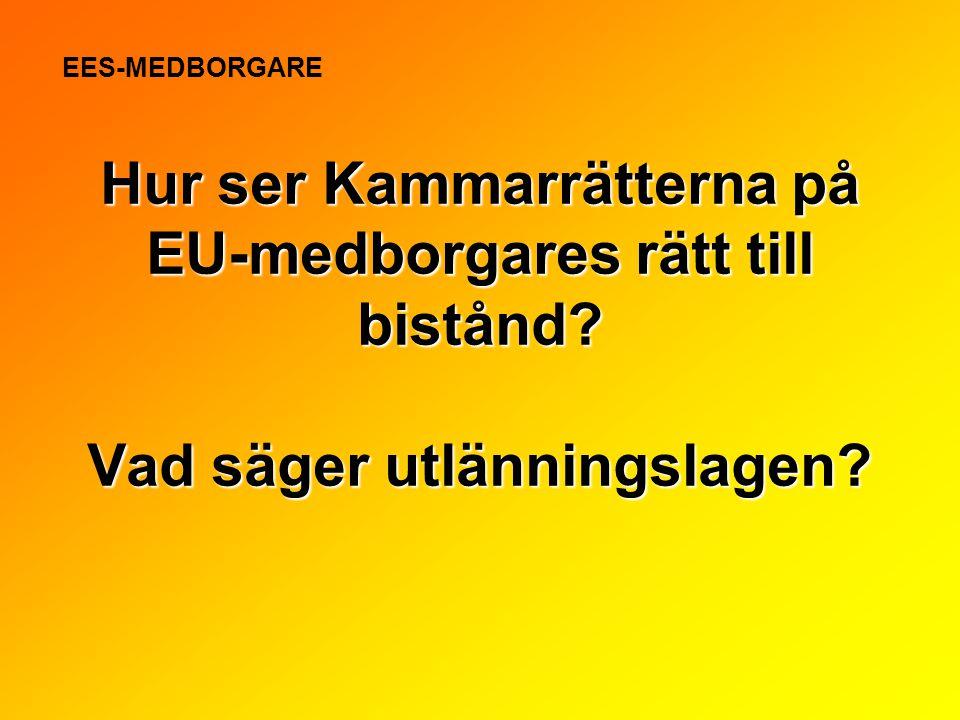 EES-MEDBORGARE Hur ser Kammarrätterna på EU-medborgares rätt till bistånd.