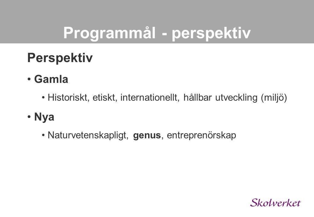 Programmål - perspektiv