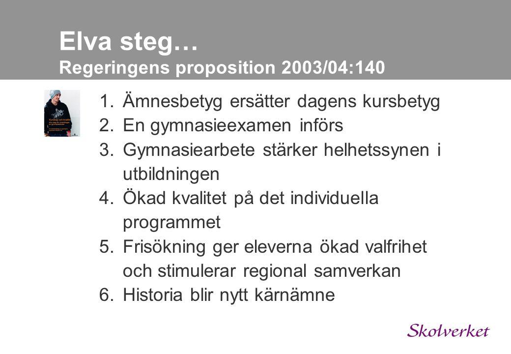 Elva steg… Regeringens proposition 2003/04:140