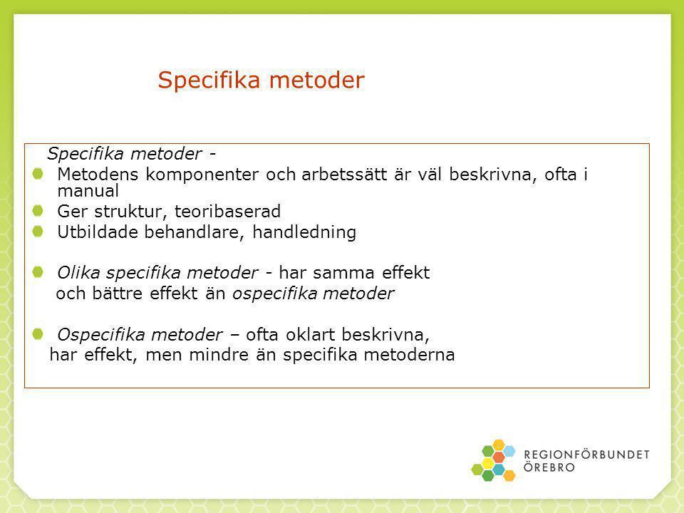 Specifika metoder Specifika metoder - Metodens komponenter och arbetssätt är väl beskrivna, ofta i manual.