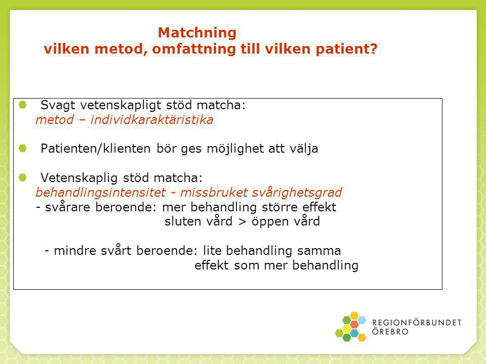 Matchning vilken metod, omfattning till vilken patient