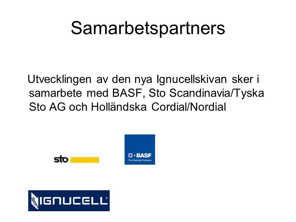 Samarbetspartners Utvecklingen av den nya Ignucellskivan sker i samarbete med BASF, Sto Scandinavia/Tyska Sto AG och Holländska Cordial/Nordial.
