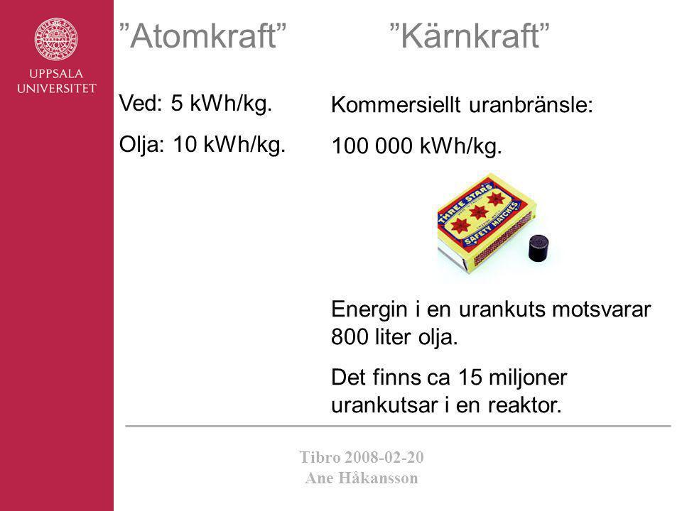 Atomkraft Kärnkraft Ved: 5 kWh/kg. Kommersiellt uranbränsle:
