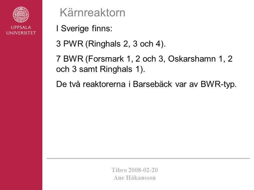 Kärnreaktorn I Sverige finns: 3 PWR (Ringhals 2, 3 och 4).