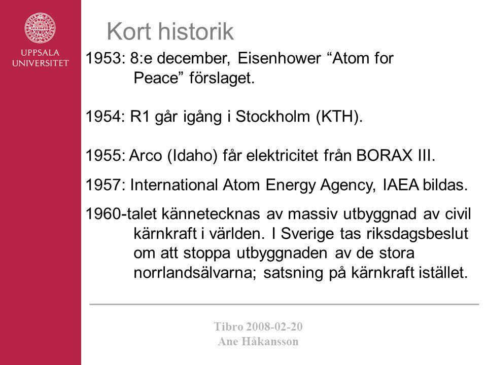 Kort historik 1953: 8:e december, Eisenhower Atom for Peace förslaget. : R1 går igång i Stockholm (KTH).