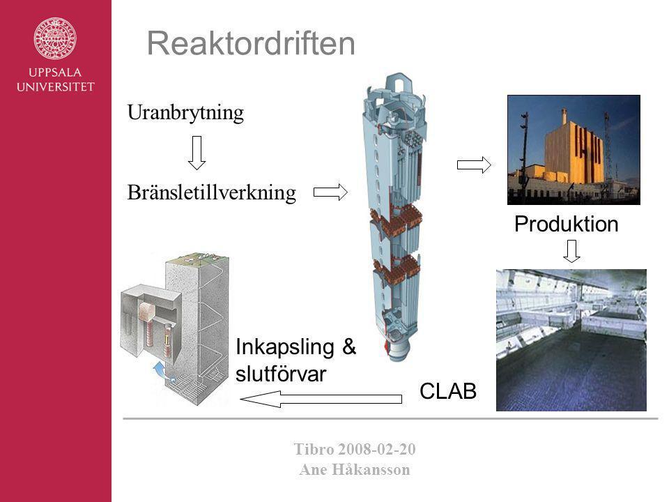 Reaktordriften Uranbrytning Bränsletillverkning Produktion